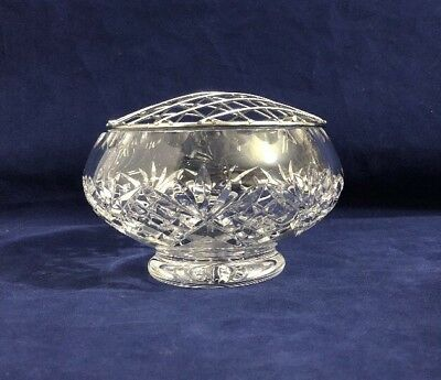 Vintage Crystal Cut Glass Footed Rose Flower Bowl With Wire Mesh Frog