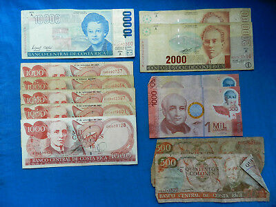 Lot of Vintage/Current Costa Rica Banknotes  *22000 CRC*    *Redeemable*