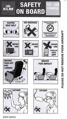 Safety Card KLM Boeing 747-400 Freighter MAR2003