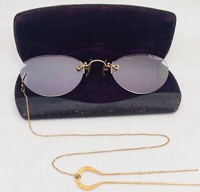 ANTIQUE GOLD Tone / Filled? PINCE NEZ.'Half-Moon' Spectacles + Hairpin Chain