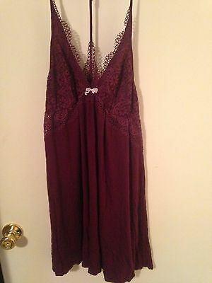NWOT Victoria's Secret Super Soft Lace Trim Slip Maroon XL