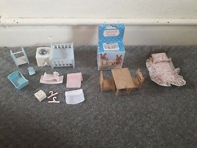 Sylvanian families furniture bundle table set nursery bed