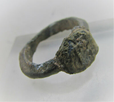 Scarce Circa 600-900Ad Byzantine Era Bronze Enamelled Ring With Saint Depiction