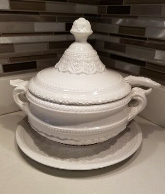 Vintage Italian Porcelain Soup Tureen With Ladle And Spill Plate Marked Italy