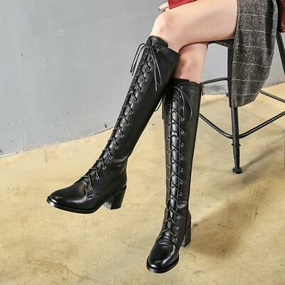 Ladies Chunky Heels Military Combat Riding Boots Knee High Lace up Casual Shoes