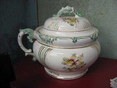 Antique China Chamber Pot w/Lid Bright Floral Colors with Gold Detailing