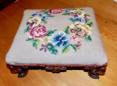 Antique  Victorian Walnut Hand Carved Wooden Foot Stool With Flower Needlepoint