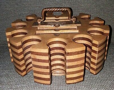 VTG Antique 1899 Stanley A. Cohen Multi-Wood Poker Chip Rotating CADDY TRAY RaRe