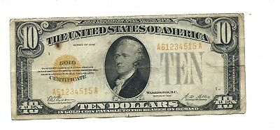 "1928 - Ten Dollar ($10.00) -GOLD CERTIFICATE - Serial #A61234515 A -""Very Fine"""