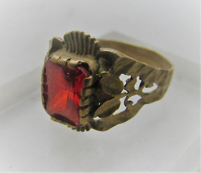 Lovely Post Medieval Bronze Ring With Faceted Red Glass Insert