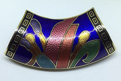 Scarf Tube Goldtone Metal Cloisonne Floral Multi-Color on Blue 2.5 by 1.5 Inches