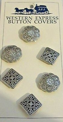 6 New WESTERN EXPRESS Button Covers; Ornate Designs