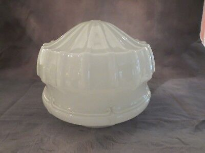 Antique 1920's-30's Large Heavy Art Deco Milk Glass Shade Ceiling Light Fixture