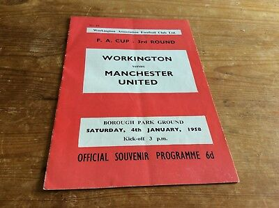 Workington V Manchester United 4/1/58 F.A. Cup