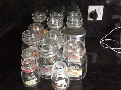 job lot of empty yankee candle jars - small, medium and large