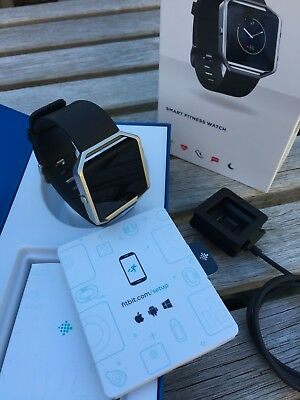 Fitbit Blaze Black/Stainless Steel L/G Size Wristband Virtually New w Packaging