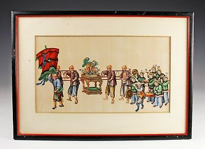 Exceptional Antique Chinese Pith Rice Paper Painting With Figures - #5 Of 10