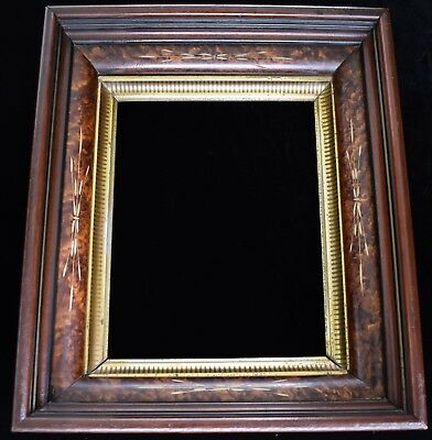 Antique Victorian Gilt Walnut Picture Frame Oval Opening Original