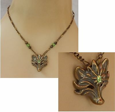 Wolf Necklace Gold Pendant Jewelry Handmade NEW Adjustable Chain Women Green