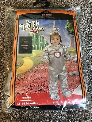 Tin Man Child Costume Headpiece With Shoe Cover Halloween Dress Up 12-18 Months
