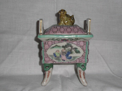 Chinese Republic Period Porcelain Footed Incense Burner W/ Foo Dog Lid