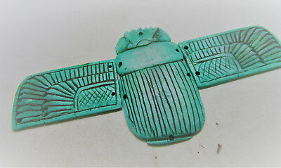 Ancient Egyptian Glazed Faience Winged Scarab With Heiroglyphics