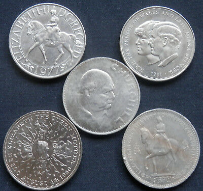 Great Britain (Uk), 5 Diff Uncirculated Crown Size Coins