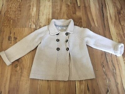 Mini Boden Girls Wool Blend Off White Button Front Cardigan Sweater 12-18 months
