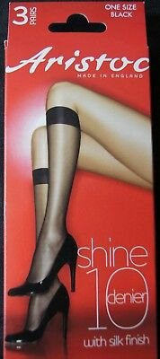 Aristoc Black 3 Pair Pack Shine 10DN Knee Highs With Silk Finish