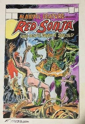 Frank Thorne Original Cover ART! RED SONJA  with comic matted and framed