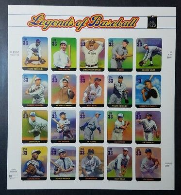 US Scott #3408 Legends of Baseball MINT SHEET Self Adhesive