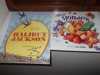 2 books - Halibut Jackson by David + Mess Monsters illustrated by Piers Harper
