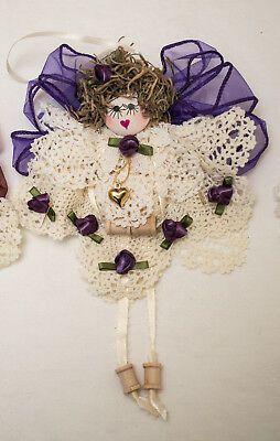 USA-Made Crocheted White Lace Angel Christmas Ornaments by Jo-De's Wildflower