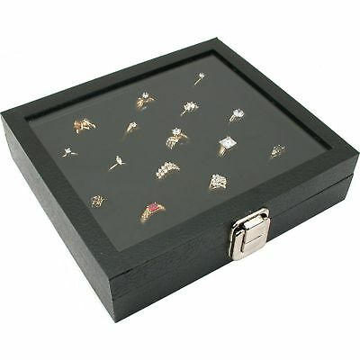 Glass Top Display Case 36 Slot Ring Insert Liner New, Storage Jewelry Box Hol...
