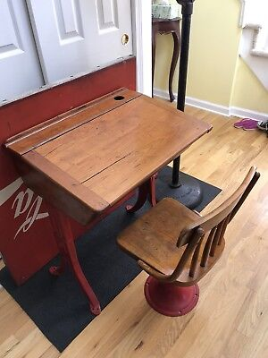 Antique/Vintage Kenney Bros Inc Boston Mass. School Desk & Chair With Metal Base