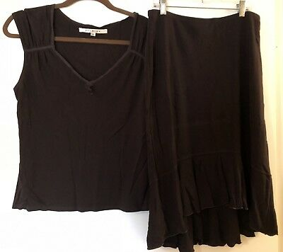 MAX STUDIO Womens Brown Top & Skirt Oufit Size M
