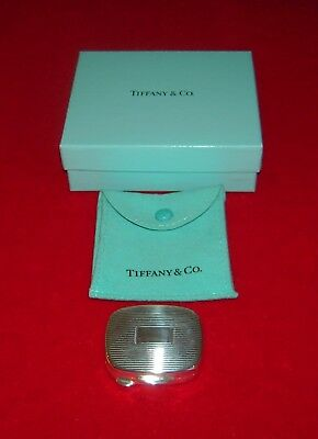 1990s Tiffany & Co. 925 Sterling Silver Pill Box, Engine Turning Design, Italy