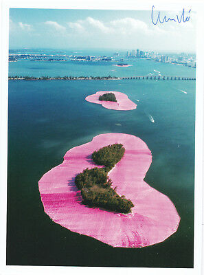 """CHRISTO (1935) """"Surrounded Islands, 1980-83"""" orig. sign. card 13x17 / autograph"""