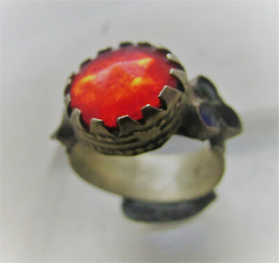 Beautiful Post Medieval Decorative Bronze Ring With Red Stone.