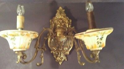 Rare Vintage Hand Painted Porcelain Art Deco Cast Iron Brass Wall Sconce Light