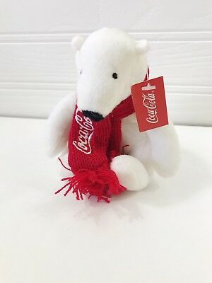 "Coca Cola Plush POLAR BEAR Red Scarf NEW W Tags 4"" Coke Collectible Beanie 2017"