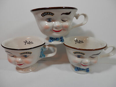 Baileys YUM Coffee Cups  Winking Face Boy Girl His Hers - SET OF 3 Excellent
