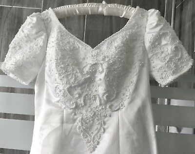 Ladies Designer Wedding Dress Size UK 10-12 Alfred Angelo White With Pearls