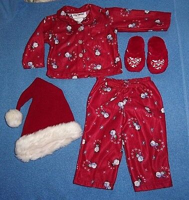 "My Twinn 22-23"" Dolls  Flannel Snowman Pj's, Slippers, And Santa Hat"