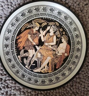 Greek Gods!  Vintage Rare Ancient Greek Art Pottery Plate beautiful painting