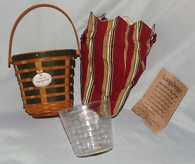 2007 Longaberger Peppermint Stripe Basket with Tag, Protector & Liner