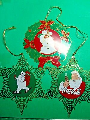 1995 Gift Creations Coca Cola Gold Tone Metal Christmas Ornaments (Cc)