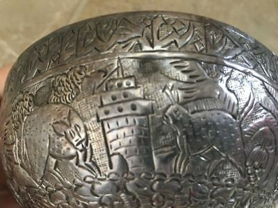 Turkish Ottoman Chased Silver Bowl, Stamped w/ Imperial Hallmark