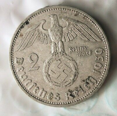 1939 NAZI GERMANY 2 REICHSMARK - AU - Excellent Historic Silver Coin - Lot #91