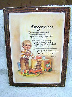 """Vintage Wooden Plaque """"Fingerprints"""" with Small Child and Toys, Collectible Home"""